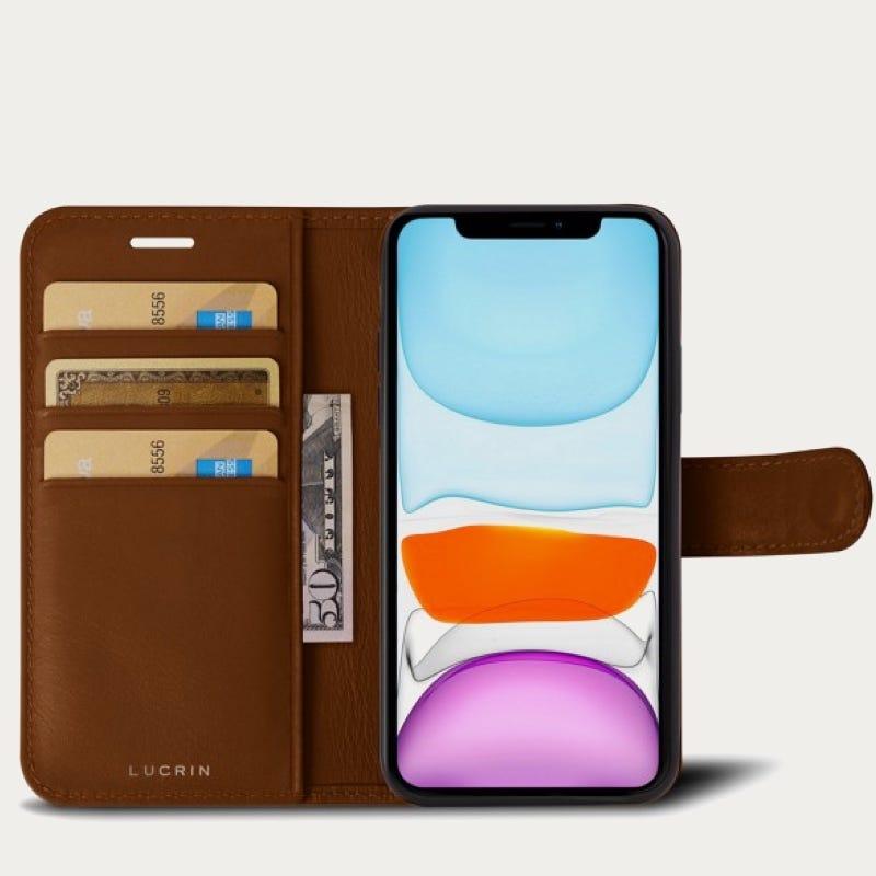 Custodia a portafoglio per iPhone 11 Pro Max - Tan - Pelle Liscia