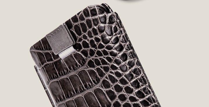 Custodia con linguetta per iPhone 11 Pro - Tortora - Pelle imitazione coccodrillo