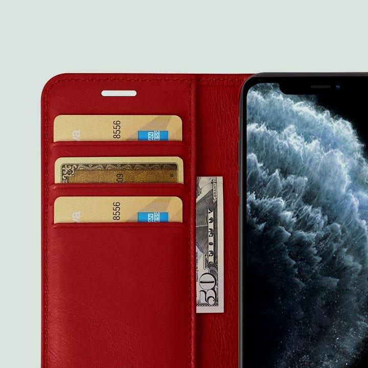 Custodia a portafoglio per iPhone 11 Pro Max - Rosso - Pelle Liscia