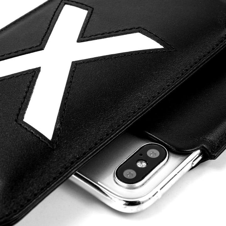 Custodia per iPhone X Special Edition - Nero-Bianco - Pelle Liscia
