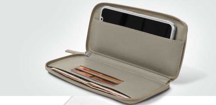 Astuccio pelle per iPhone X con zip - Taupe chiaro - Pelle Liscia