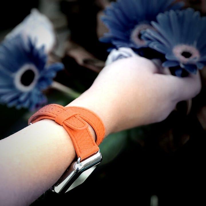 Cinturino doppio giro per Apple Watch Series 5 (40 mm) - Arancione - Pelle di Capra